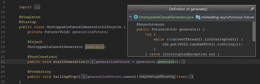 Misleading Cancellation of a Future in @Asynchronous - High Cohesion